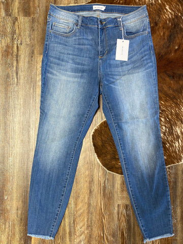Blue Bottoms Mid Rise Crop Skinny Curvy Ladies Jeans
