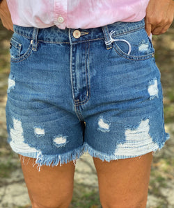 Soft Jazz Kan Can Denim Shorts With Stripe Patch - Jessi Jayne Boutique