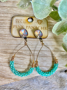 Pink Panache Teal Beaded Hoop Earrings