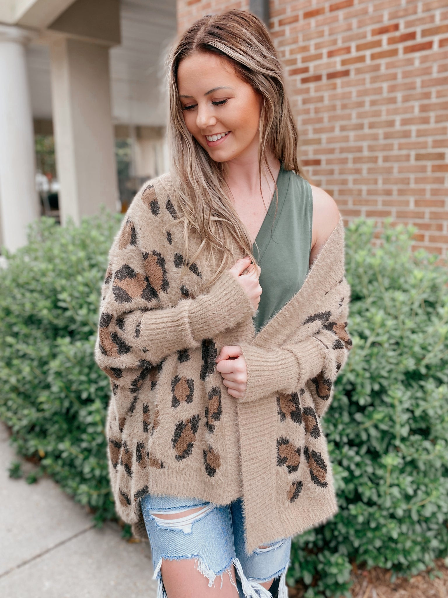 North Wood Brown Leopard Piko Sleeve Cardigan