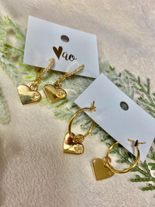 Vintage LV Gold Heart Earrings Hoop & Diamond Hook