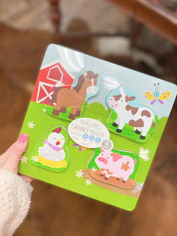 Farm Animal 4 piece Wooden Chunky Puzzle