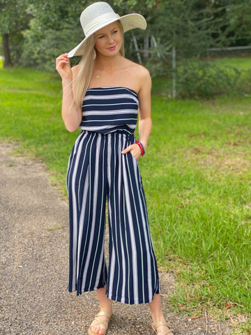 Weekender Stripe Tie Tube Jumpsuit - Jessi Jayne Boutique