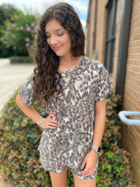 Rose Accent Leopard Two Piece Lounge Set - Jessi Jayne Boutique