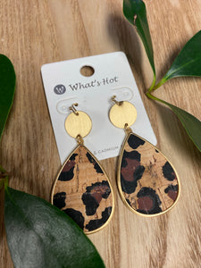 Cheetah Print Cork Teardrop 2' Earring - Jessi Jayne Boutique