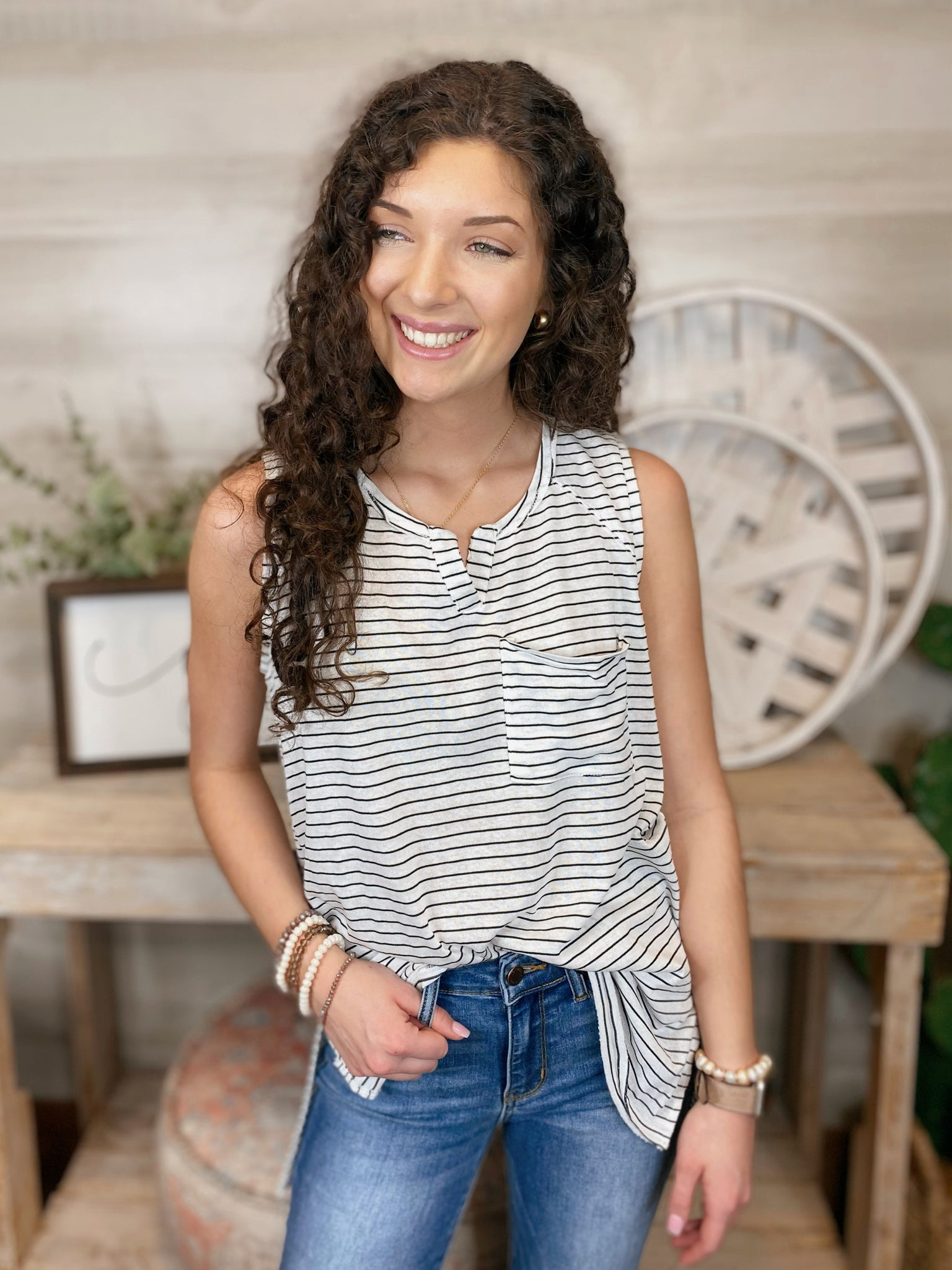 Do the Twist Pin Striped Casual Tank Top
