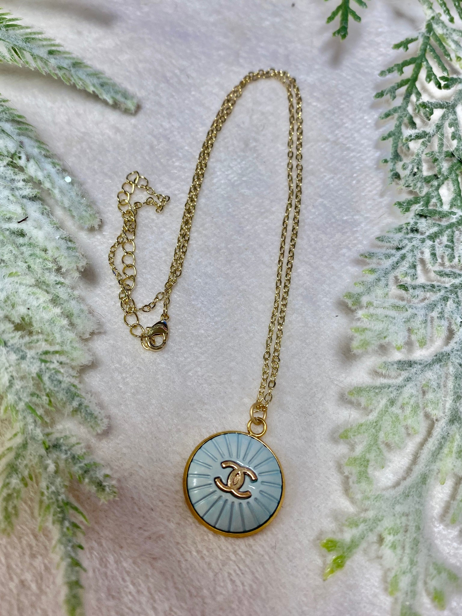 Faint Baby Blue Vintage Chanel 18in Adjustable Necklace