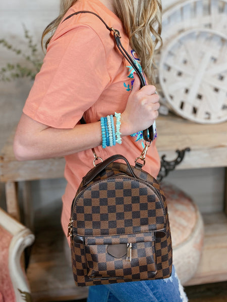 Feeling Luxurious Mini Backpack in Brown Checker