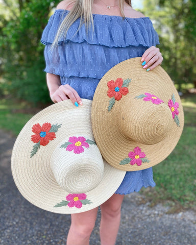 Cappelli Straw Hat with Flowers (2 colors)