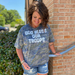God Bless Our Troops Camo Graphic Tee - Jessi Jayne Boutique
