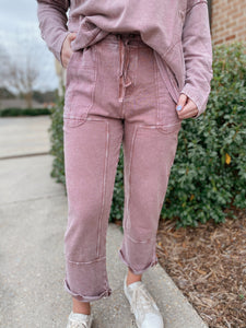Carefree Faded Plum Mineral Washed Terry Knit Cropped Pants