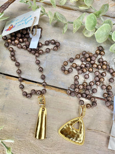 "Bronzy Brown Beaded 36"" A La Luna Gold Charm Necklace"