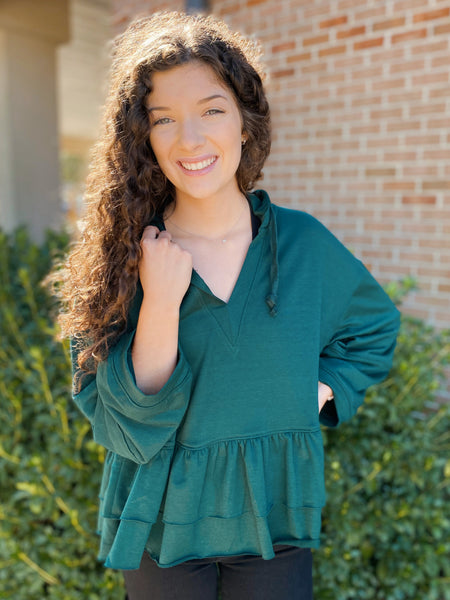 Forest Fun Hunter Green Ruffle Hoodie Top
