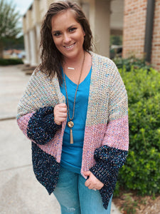 Heirloom Colorblock Curvy Open Cardigan