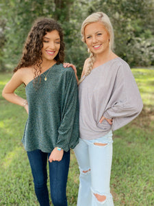 Feelin' Festive Hunter Green & Silver Shimmers One Shoulder Top