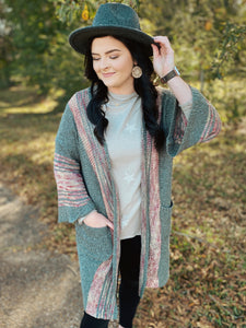 Off Tropic BOHO Long Sweater Knit Cardigan