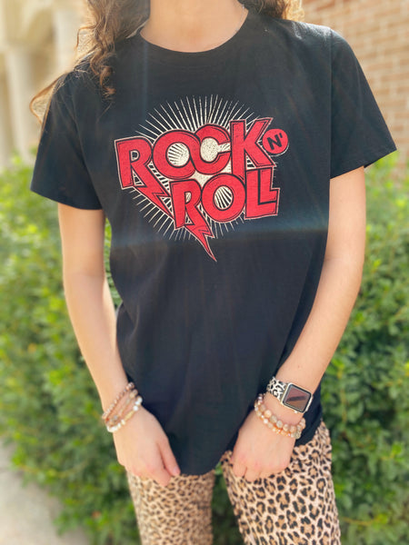 Rock n Roll Black Graphic Tee