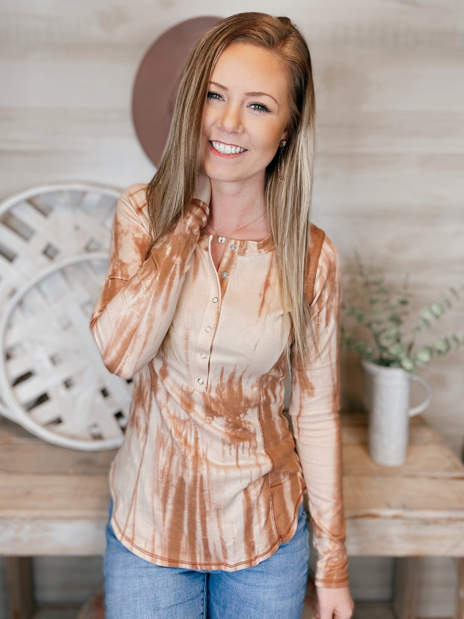 Sharon Rose Tie Dye Button Long Sleeve Top
