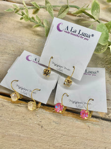 8mm Gold Backing Hook Back A La Luna Earrings
