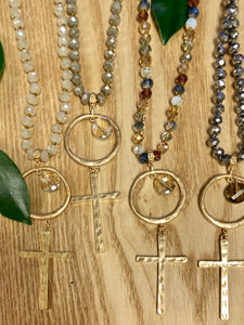"Crystal & Leather & Gold Cross 34"" Necklace - Jessi Jayne Boutique"