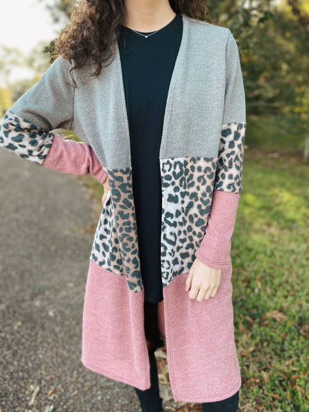 First Class Desires Color Block Mauve/Leopard Long Cardigan Curvy & Regular