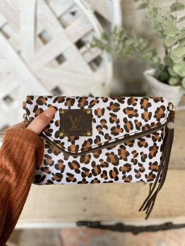 SL Repurposed LV Leopard Crossbody Purse Or Wristlet