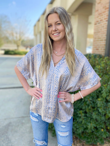 Sea Dive Taupe V Neck Printed Blouse