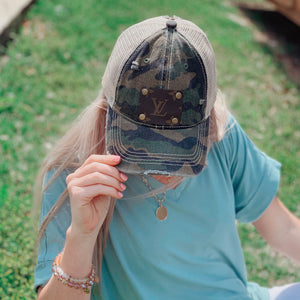 KIP Camo Distressed LV Patch Ball Cap W/ Ponytail Holder - Jessi Jayne Boutique