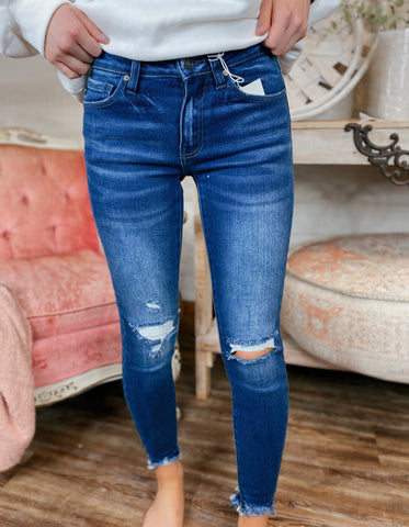On Edge Mid Rise Dark Denim Ankle Skinny