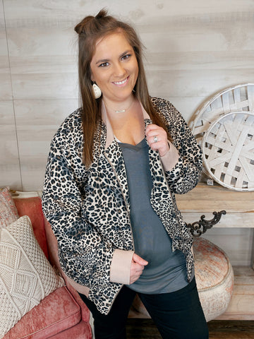 Leopard Bomber Full Zip Jacket with Pockets (reg-curvy)