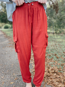 Rusty Red Cargo Jogger Pants
