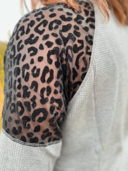 So Obsessed Leopard Waffle Knit Top