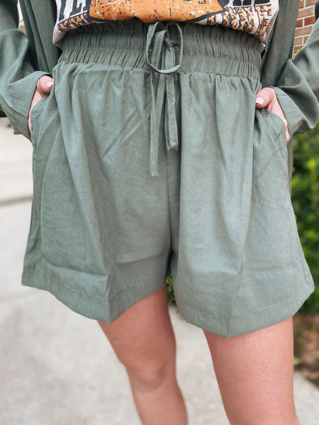 Trailblazed Light Olive Shorts