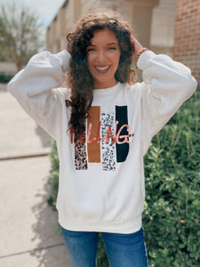 Just Rolling Mix Print Graphic Sweatshirt