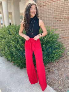 Best Wishes Wide Leg Red Flowy Pants