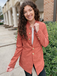 Beauty Marked Clay Button Down Blazer Jacket