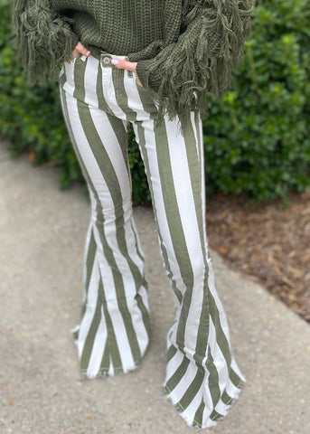 Spice Spice Baby Olive Striped Flares