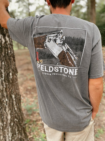 Men's Shot Gun Charcoal Grey T-Shirt Fieldstone