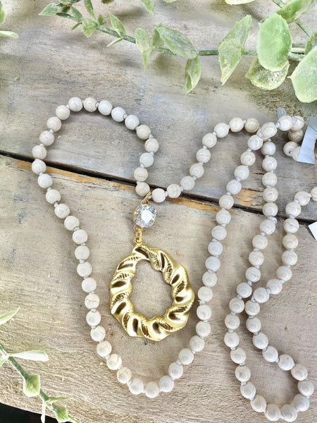 "A La Luna Long 36"" Necklaces Cream Marble & Crystal"