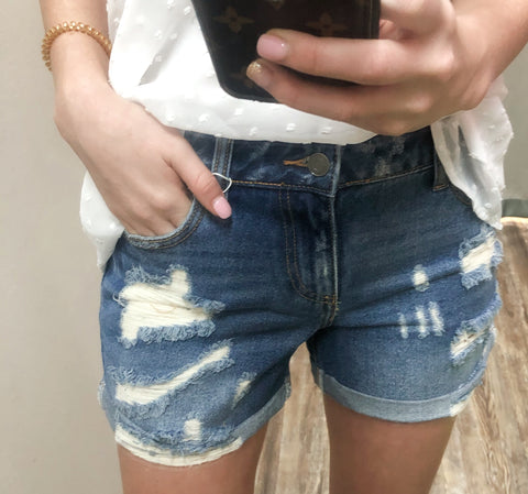 American Girl Ripped Mid Rise Rolled Hem Distress Boyfriend Shorts