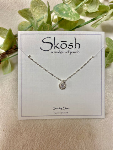 Pear Diamond Sterling Silver Skosh Necklace
