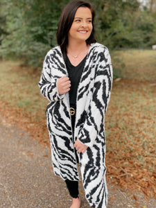 Urban Safari Black/White Zebra Long Knit Cardigan