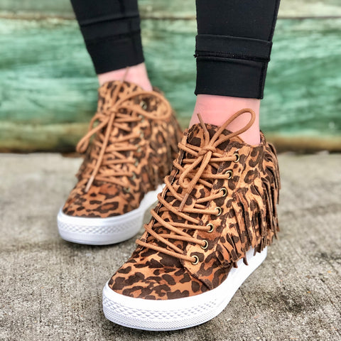 Fringy Leopard Wedge Sneakers