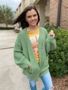 Green Moss Wide Sleeve Cable Soft Knit Cardigan