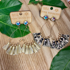Gold & Leopard Tassel AB Stone Stud Hoop Earrings Pink Panache - Jessi Jayne Boutique