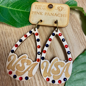 USA Wooden Pink Panache Earrings - Jessi Jayne Boutique