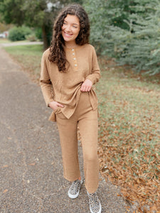 Mid-Day Mocha Taupe Solid Loose Crop Flare Knitted Lounge Pants