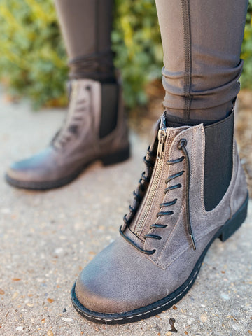 Old Times Grey Front Zipper Combat Boot