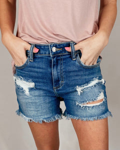 It's True Uneven Hem Distressed High Rise Shorts