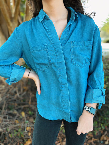 Super Skyline Denim Button Down with Split Tail